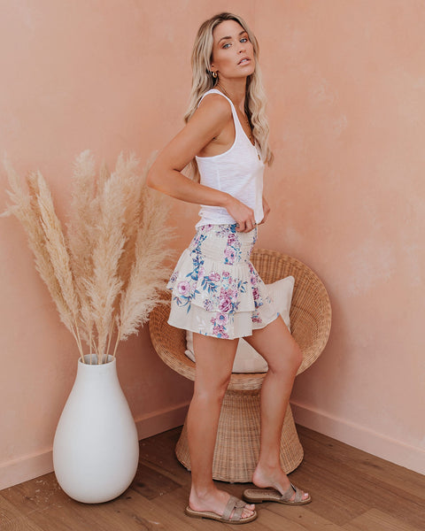 Floral Aroma Smocked Tiered Mini Skirt - FINAL SALE