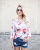 Fitting In Florals Top - Blue