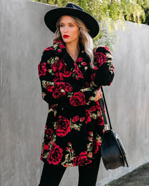 Floral Decor Pocketed Sherpa Coat - FINAL SALE