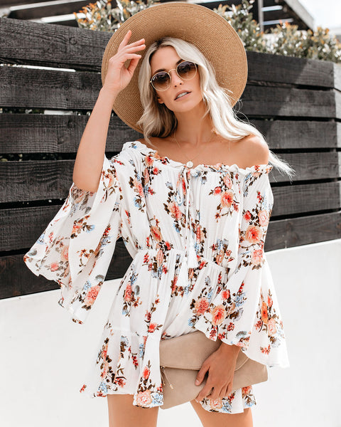 9c01f9d5cac Floral Temptation Off The Shoulder Flutter Romper