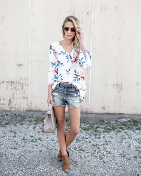 Fitting In Florals Top - Ivory
