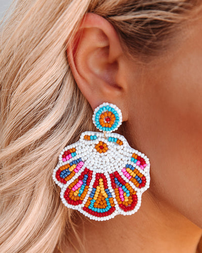 Florian Beaded Statement Earrings - White Multi