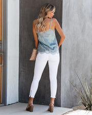 Flounce Lace Cami Tank - Light Blue - FINAL SALE
