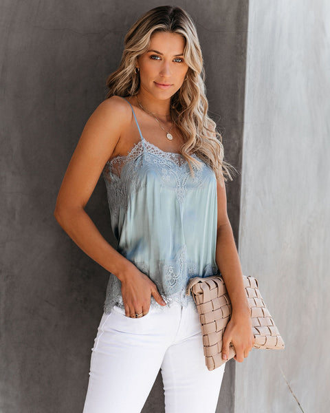 Flounce Lace Cami Tank - Light Blue