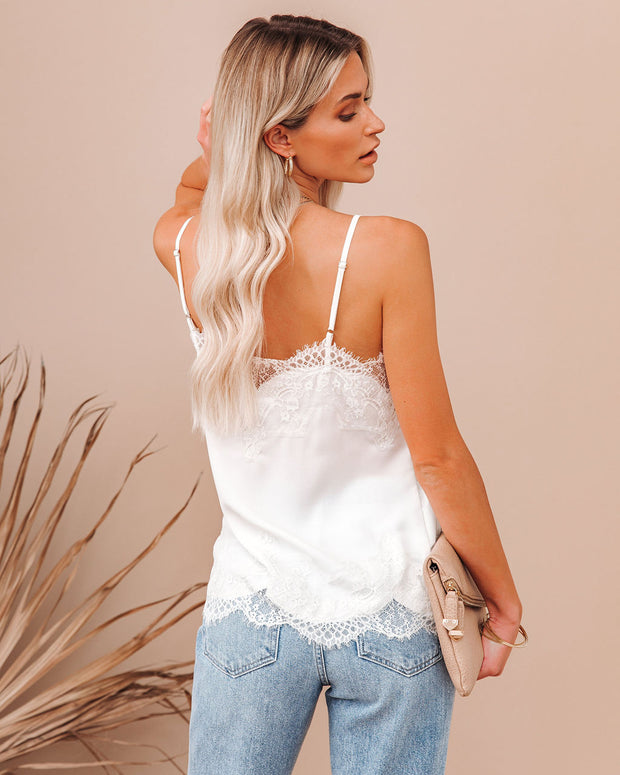 Flounce Lace Cami Tank - Ivory view 2