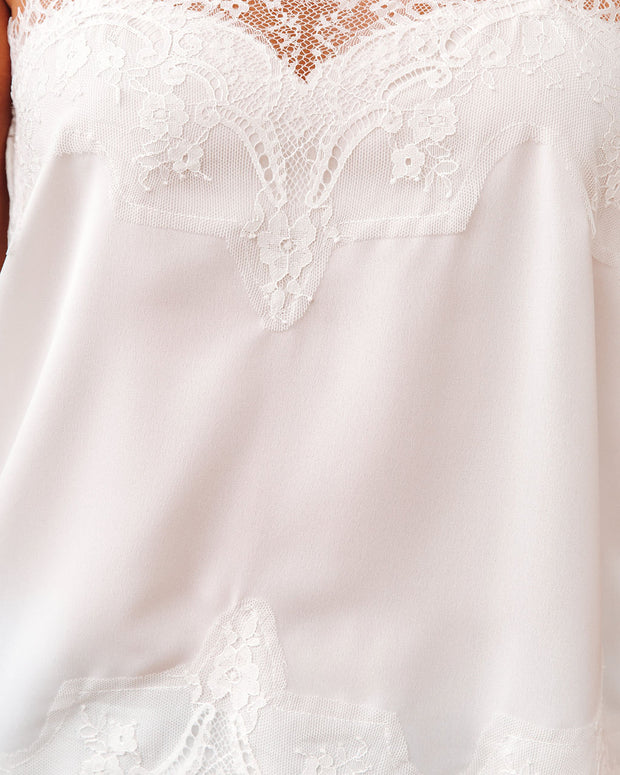 Flounce Lace Cami Tank - Ivory view 4