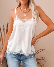 Flounce Lace Cami Tank - Ivory view 3