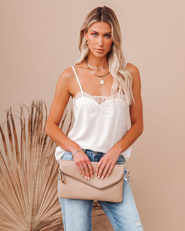 Flounce Lace Cami Tank - Ivory view 9