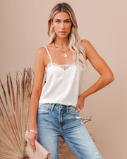 Flounce Lace Cami Tank - Ivory view 1