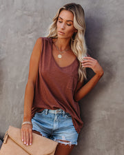 Flourish Cotton Scoop Neck Pocket Tee - Burnt Rust