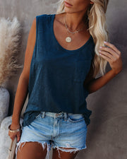 Flourish Cotton Scoop Neck Pocket Tee - Dark Teal