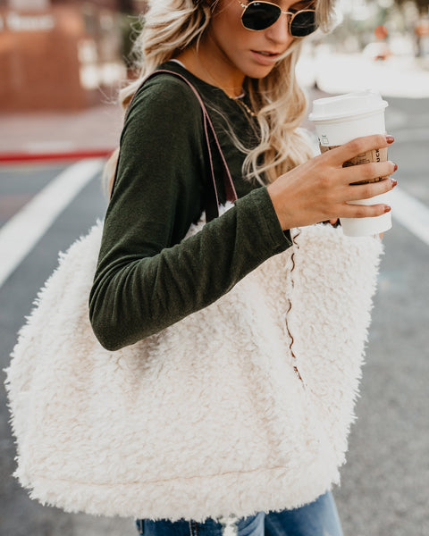 Fluffy Sherpa Tote Bag - Off White