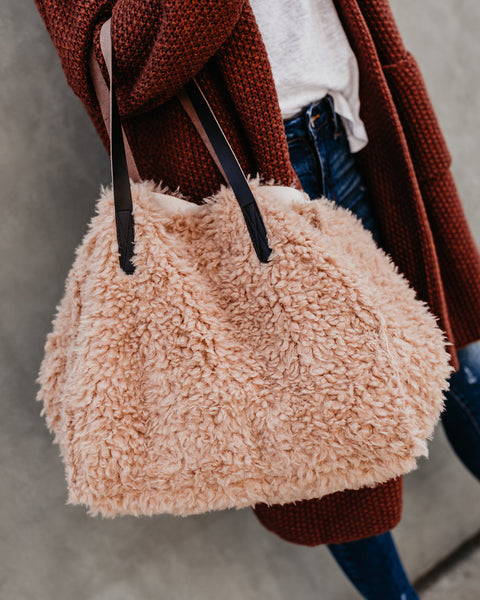 Fluffy Sherpa Tote Bag - Taupe