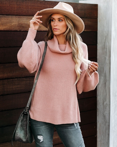 Flurries Of Fun Cowl Neck Knit Sweater - Pink Sand - FINAL SALE