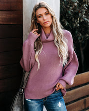 Flurries Of Fun Cowl Neck Knit Sweater - Twilight Mauve