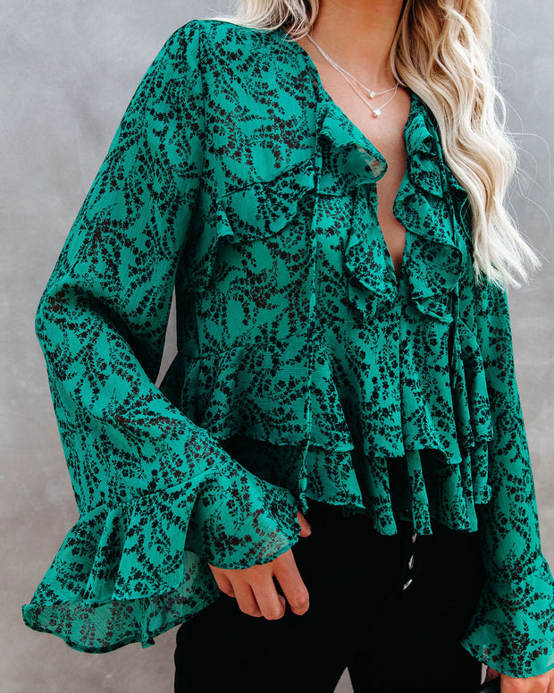 Foliage Floral Ruffle Tiered Blouse