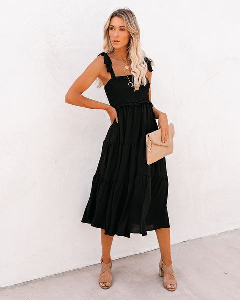 Follow My Footsteps Smocked Tiered Midi Dress - Black