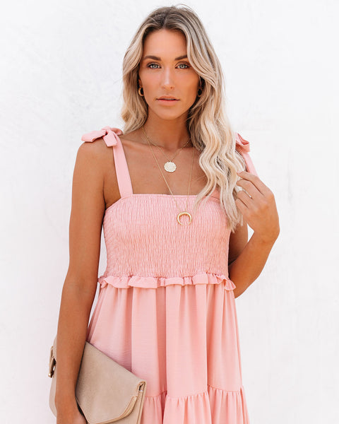 Follow My Footsteps Smocked Tiered Midi Dress - Light Mauve
