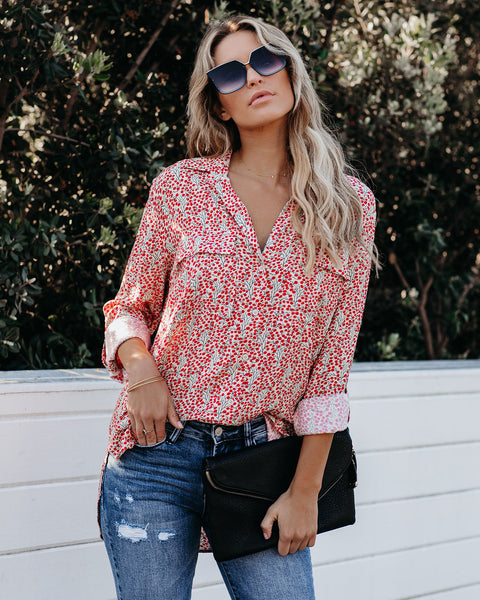 Food For Thought Printed Button Down Top - FINAL SALE