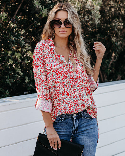 Food For Thought Printed Button Down Top