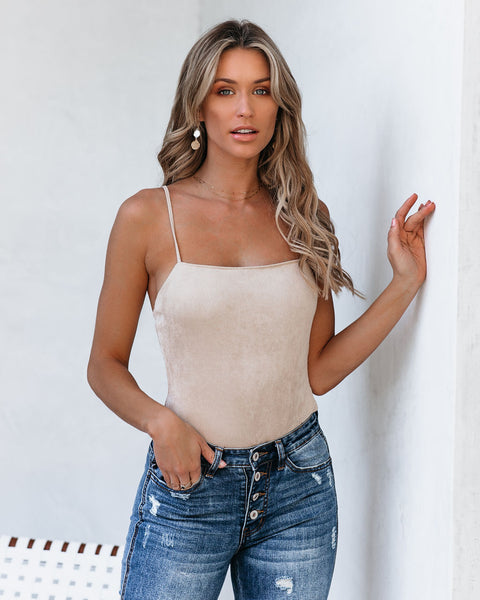 Foolish Heart Ribbed Cami Bodysuit - Taupe