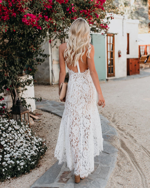 For All My Life Lace High Low Maxi Dress