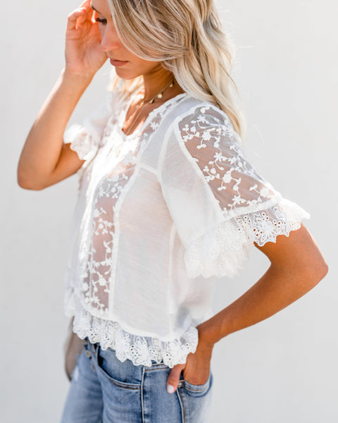 For Eternity Embroidered Lace Top