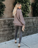Forever Chic Cable Knit Turtleneck Sweater - Grey