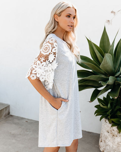 Forever + Ever Pocketed Lace Contrast T-Shirt Dress