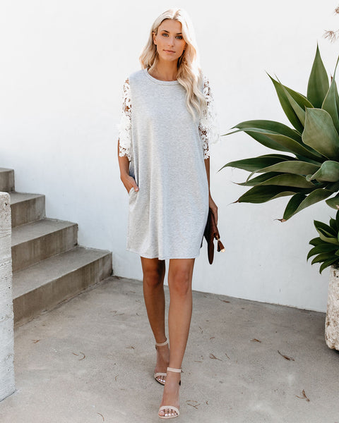 639a0a8f8ea6 Forever + Ever Pocketed Lace Contrast T-Shirt Dress – VICI