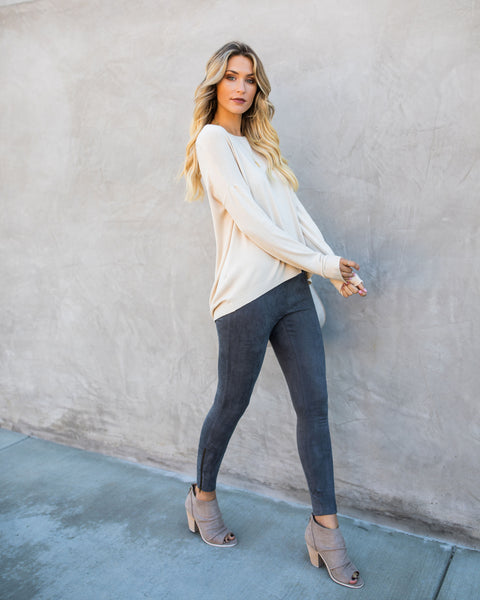 Josephine Crew Neck Zip Sweater - Oatmeal - FINAL SALE