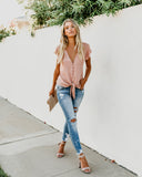 Forever Tonight Button Down Tie Top - Pink