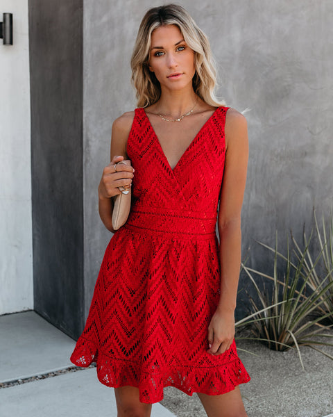 Forget Me Not Crochet Ruffle Dress - Red