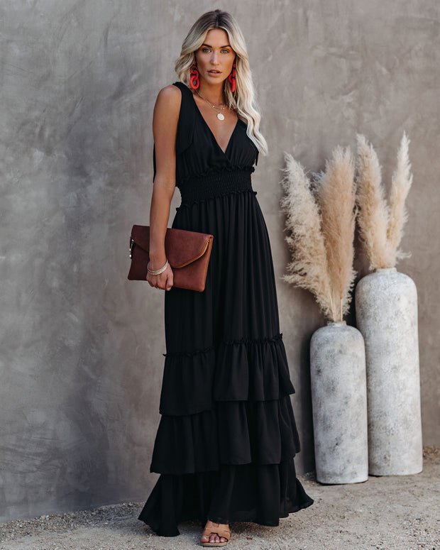 Formal Introduction Ruffle Tiered Maxi Dress - Black view 1