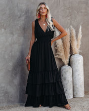 Formal Introduction Ruffle Tiered Maxi Dress - Black view 5