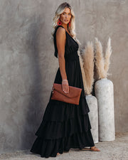Formal Introduction Ruffle Tiered Maxi Dress - Black view 6