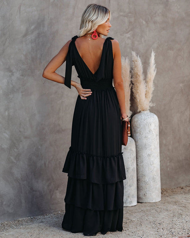 Formal Introduction Ruffle Tiered Maxi Dress - Black view 2