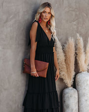 Formal Introduction Ruffle Tiered Maxi Dress - Black view 7