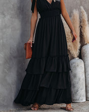 Formal Introduction Ruffle Tiered Maxi Dress - Black view 8