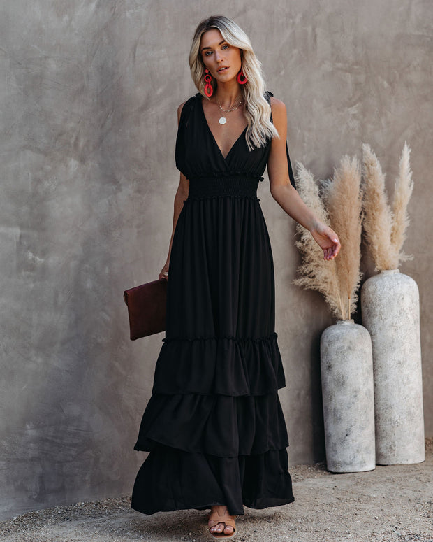 Formal Introduction Ruffle Tiered Maxi Dress - Black view 9