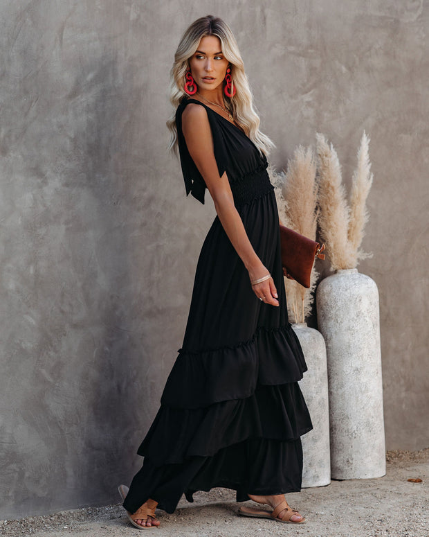 Formal Introduction Ruffle Tiered Maxi Dress - Black view 3