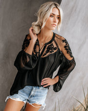 Formal Invitation Lace Blouse - Black