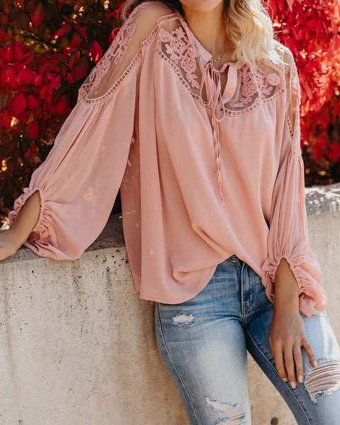 Formal Invitation Lace Blouse - Blush