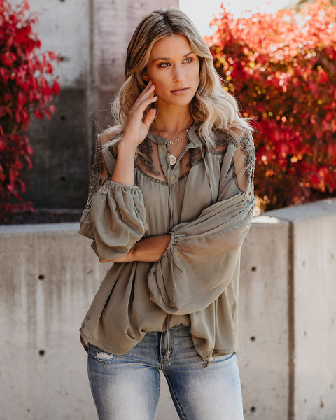 Formal Invitation Lace Blouse - Olive