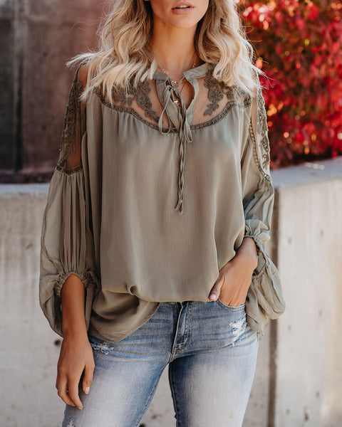 Formal Invitation Lace Blouse - Olive - FLASH SALE
