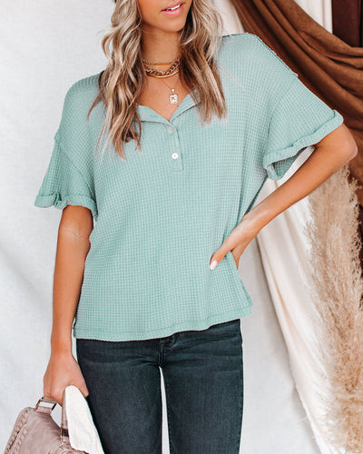Forrest Thermal Knit Henley Top - Sage