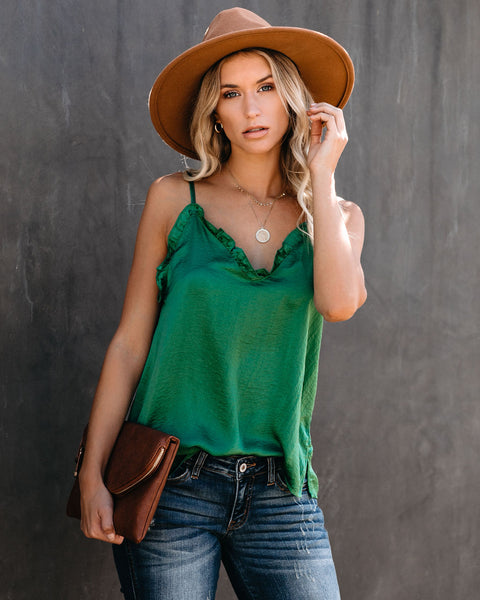 For The Frill Of It Satin Cami Tank - Green