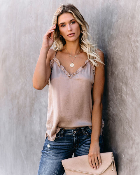 For The Frill Of It Satin Cami Tank - Mocha - FINAL SALE
