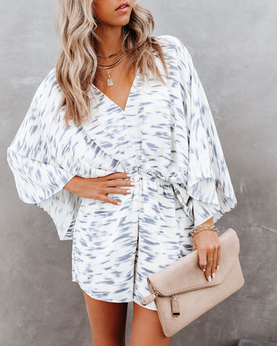 For The Record Printed Kimono Romper