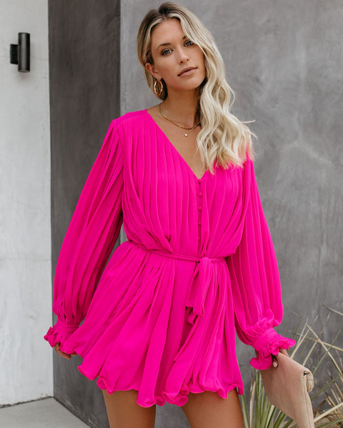 Found Love Pleated Romper - Pink
